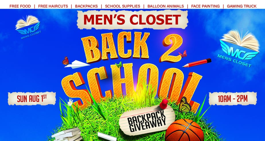 Men's Closet Annual Back to School Backpack Giveaway to Take Place on Sunday, August 1, 2021